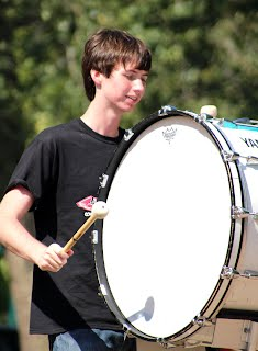 In order to keep the beat, senior Garrett Harman plays the bass drum. Hartman has been involved in band for four years in the percussion section.